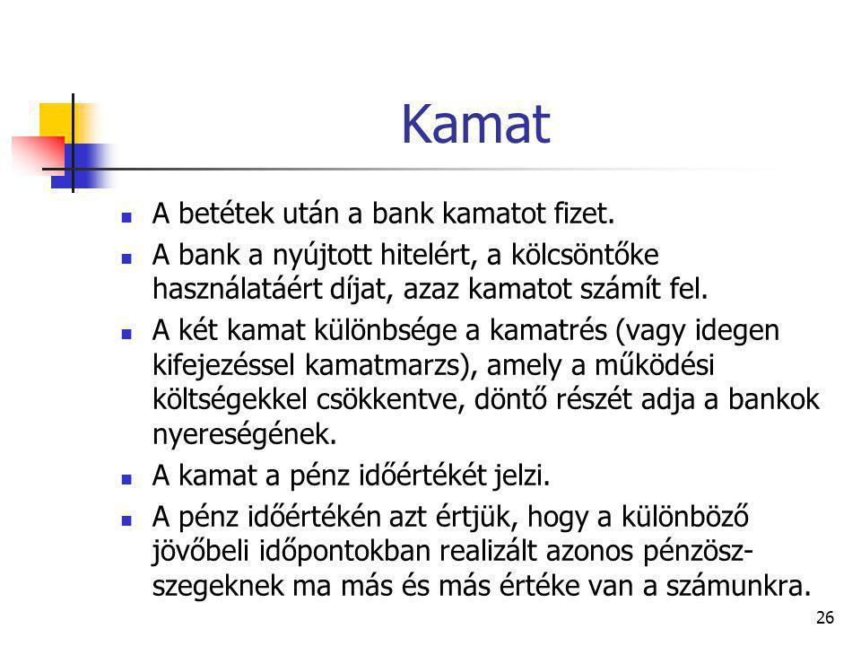 26 Kamat A betétek után a bank kamatot fizet. A bank a nyújtott hitelért, a kölcsöntőke használatáért díjat, azaz kamatot számít fel. A két kamat külö