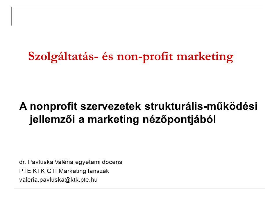 Szolgáltatás- és non-profit marketing A nonprofit szervezetek strukturális-működési jellemzői a marketing nézőpontjából dr. Pavluska Valéria egyetemi
