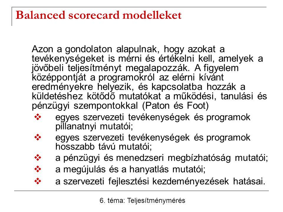 Balanced scorecard modelleket Azon a gondolaton alapulnak, hogy azokat a tevékenységeket is mérni és értékelni kell, amelyek a jövőbeli teljesítményt