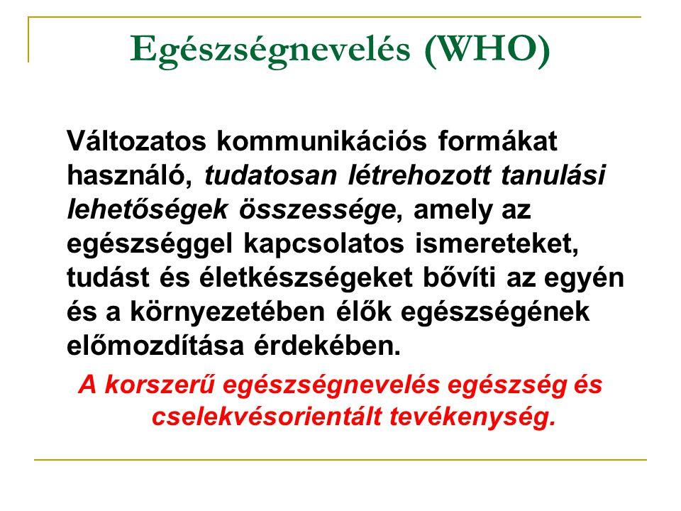 Egészségnevelés (WHO) Változatos kommunikációs formákat használó, tudatosan létrehozott tanulási lehetőségek összessége, amely az egészséggel kapcsola