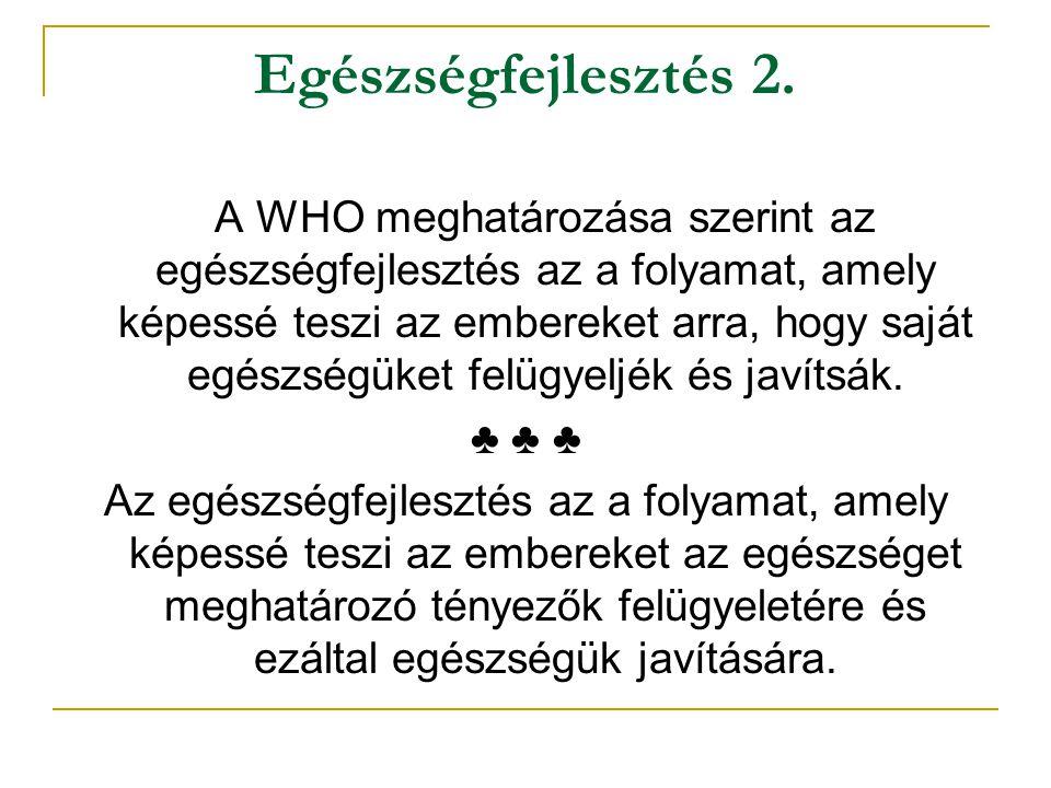 Egészségfejlesztés 2. A WHO meghatározása szerint az egészségfejlesztés az a folyamat, amely képessé teszi az embereket arra, hogy saját egészségüket