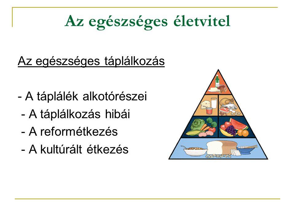 Az egészséges életvitel Az egészséges táplálkozás - A táplálék alkotórészei - A táplálkozás hibái - A reformétkezés - A kultúrált étkezés