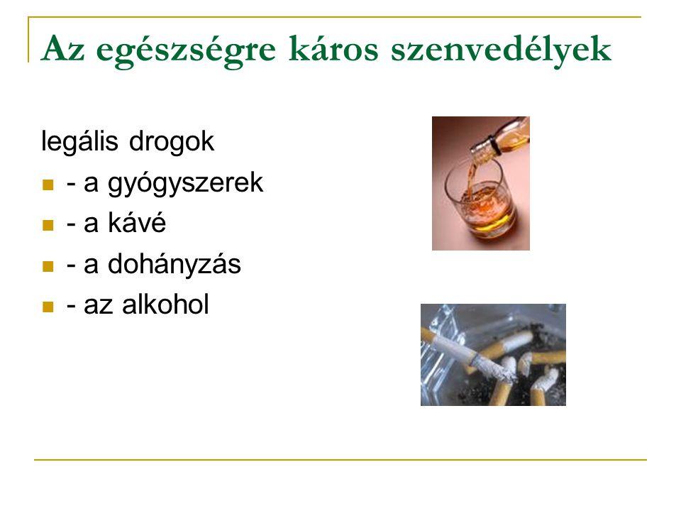 Az egészségre káros szenvedélyek legális drogok - a gyógyszerek - a kávé - a dohányzás - az alkohol