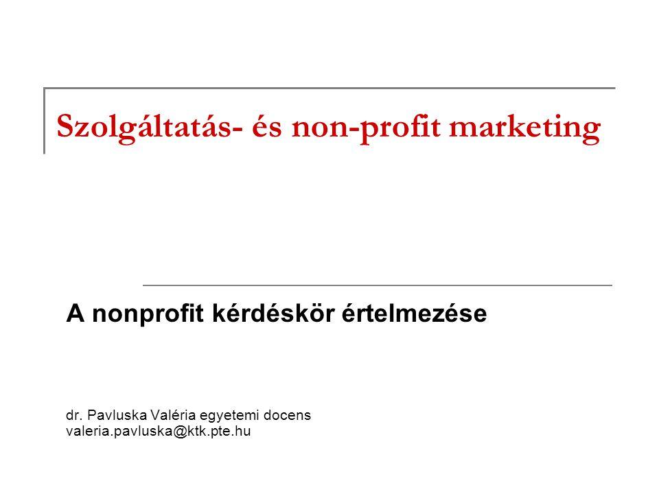 Szolgáltatás- és non-profit marketing A nonprofit kérdéskör értelmezése dr.