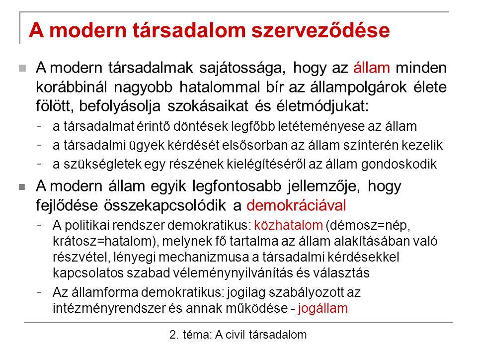 2. téma: A civil társadalom A modern társadalom szerveződése A modern társadalmak sajátossága, hogy az állam minden korábbinál nagyobb hatalommal bír