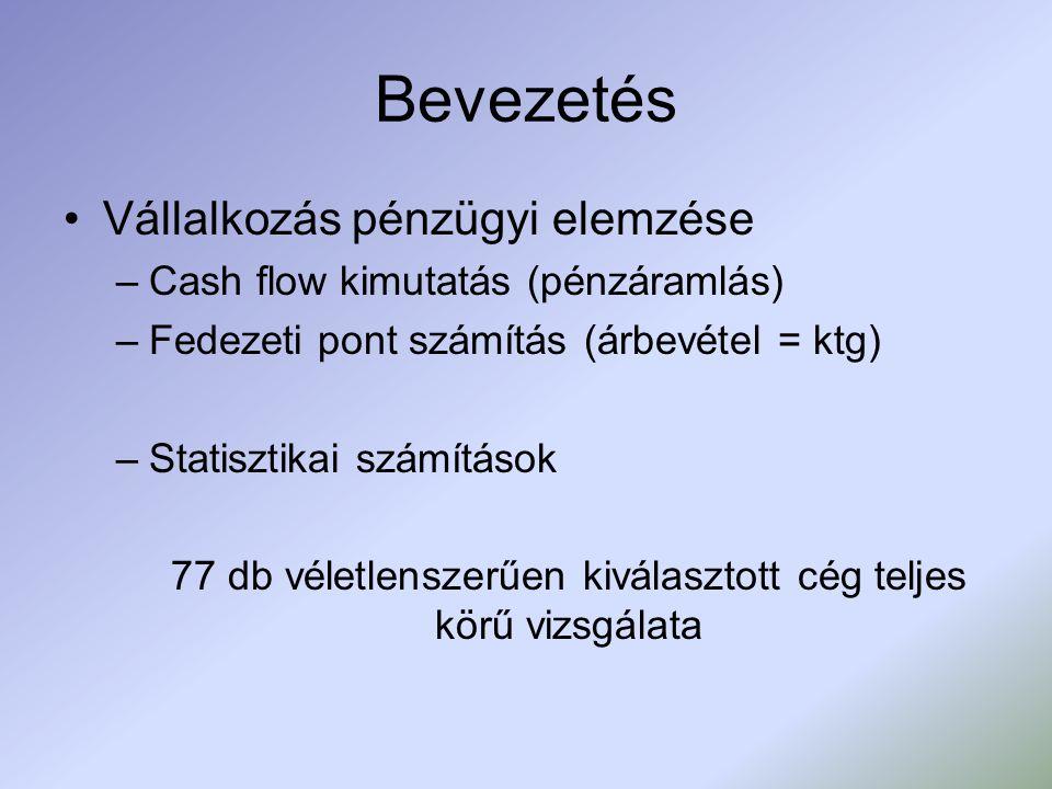 Bevezetés Vállalkozás pénzügyi elemzése –Cash flow kimutatás (pénzáramlás) –Fedezeti pont számítás (árbevétel = ktg) –Statisztikai számítások 77 db vé
