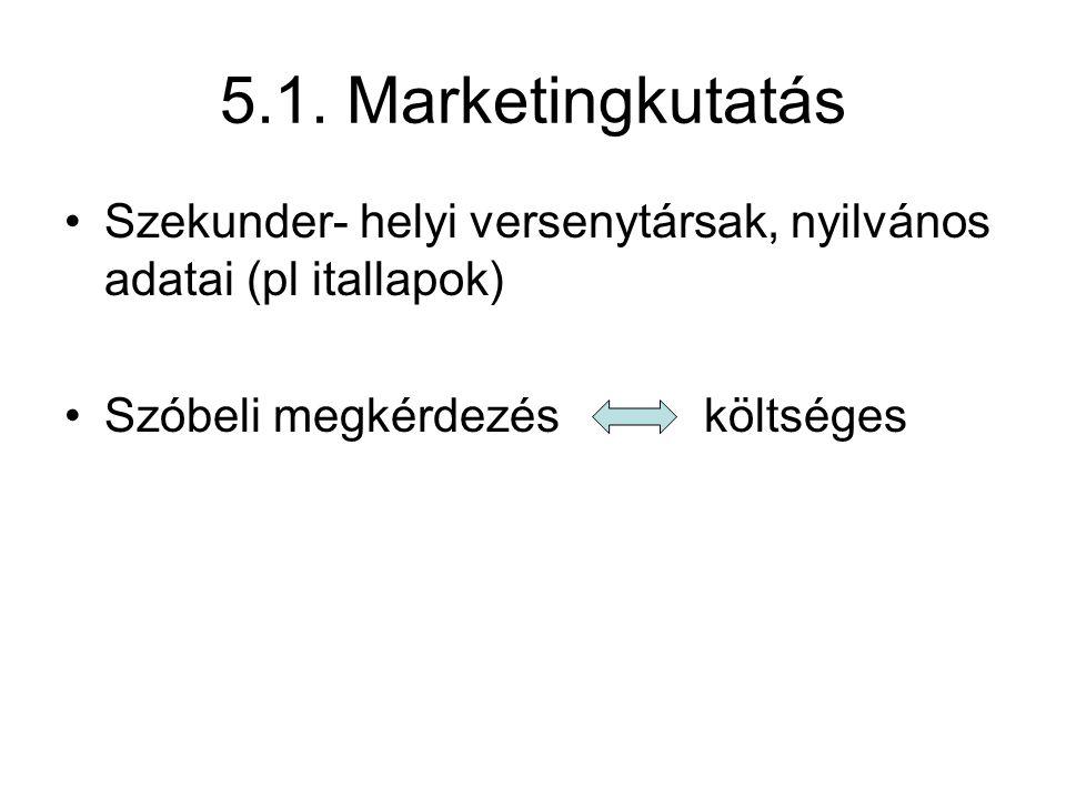 5.1. Marketingkutatás Szekunder- helyi versenytársak, nyilvános adatai (pl itallapok) Szóbeli megkérdezésköltséges