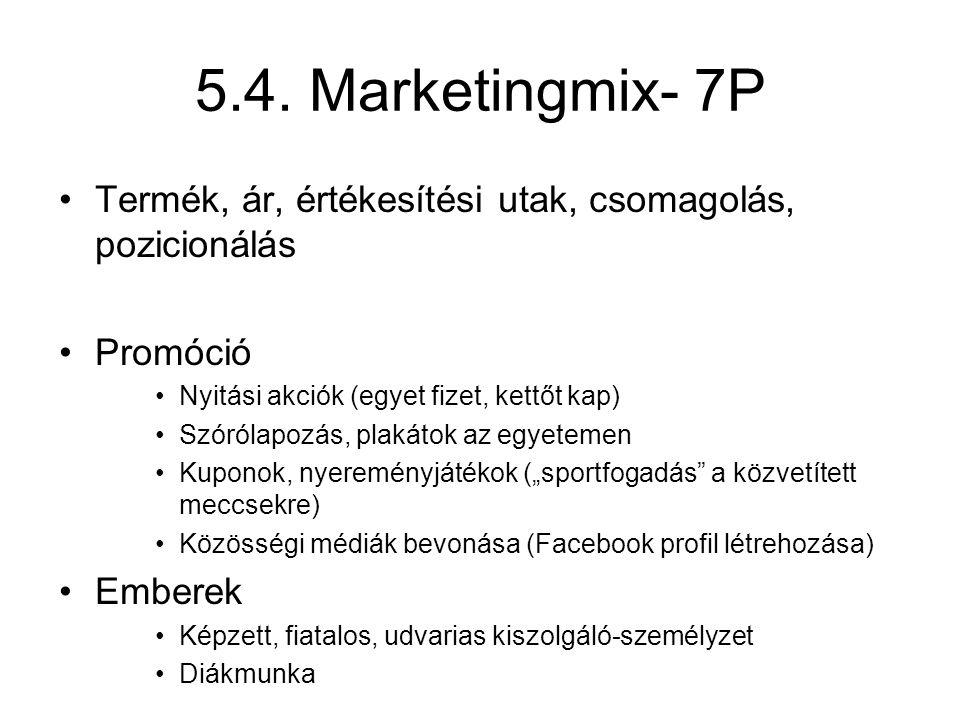 5.4. Marketingmix- 7P Termék, ár, értékesítési utak, csomagolás, pozicionálás Promóció Nyitási akciók (egyet fizet, kettőt kap) Szórólapozás, plakátok