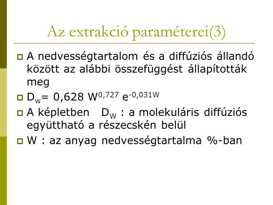 Az extrakció paraméterei(3)  A nedvességtartalom és a diffúziós állandó között az alábbi összefüggést állapították meg  D w = 0,628 W 0,727 e -0,031