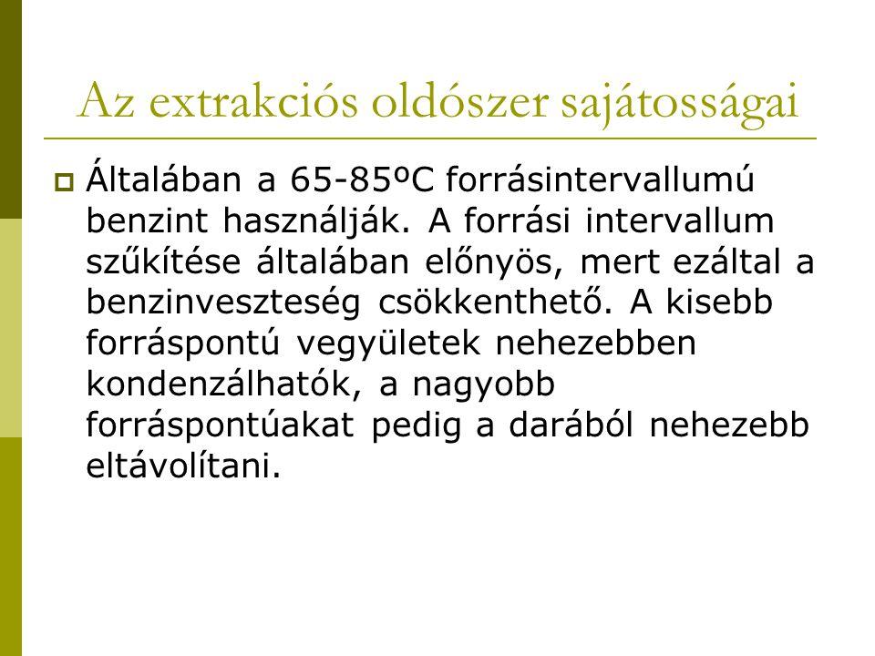 Az extrakciós oldószer sajátosságai  Általában a 65-85ºC forrásintervallumú benzint használják. A forrási intervallum szűkítése általában előnyös, me