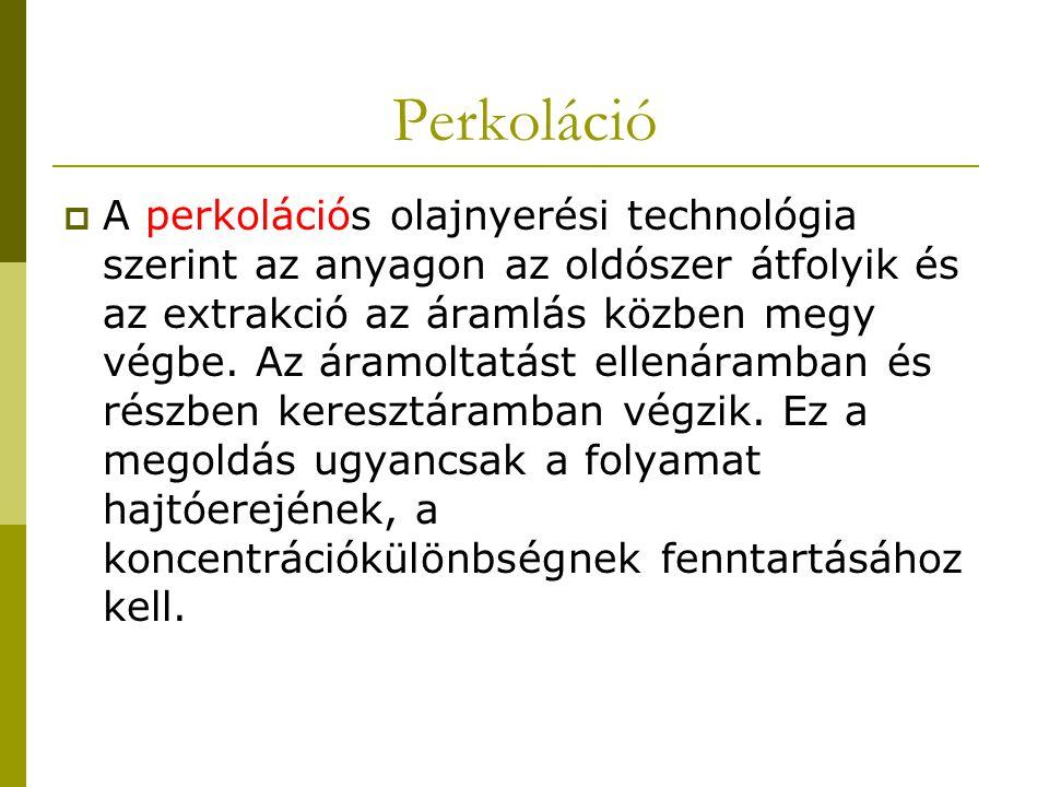 Perkoláció  A perkolációs olajnyerési technológia szerint az anyagon az oldószer átfolyik és az extrakció az áramlás közben megy végbe. Az áramoltatá