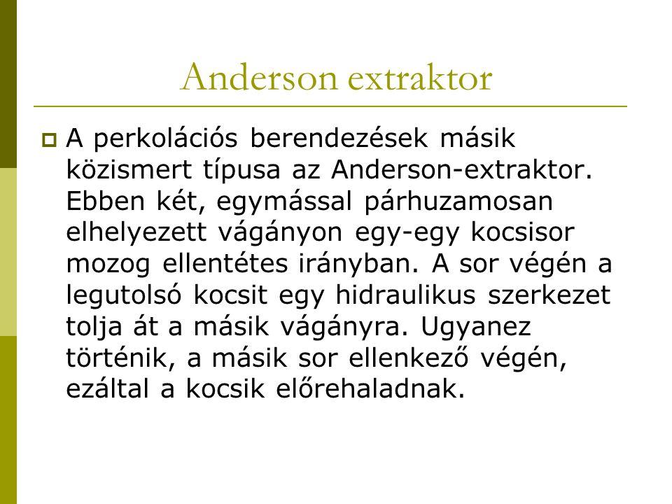 Anderson extraktor  A perkolációs berendezések másik közismert típusa az Anderson-extraktor. Ebben két, egymással párhuzamosan elhelyezett vágányon e