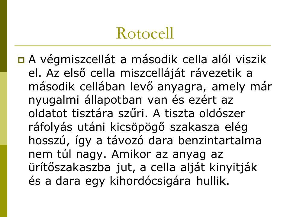 Rotocell  A végmiszcellát a második cella alól viszik el. Az első cella miszcelláját rávezetik a második cellában levő anyagra, amely már nyugalmi ál