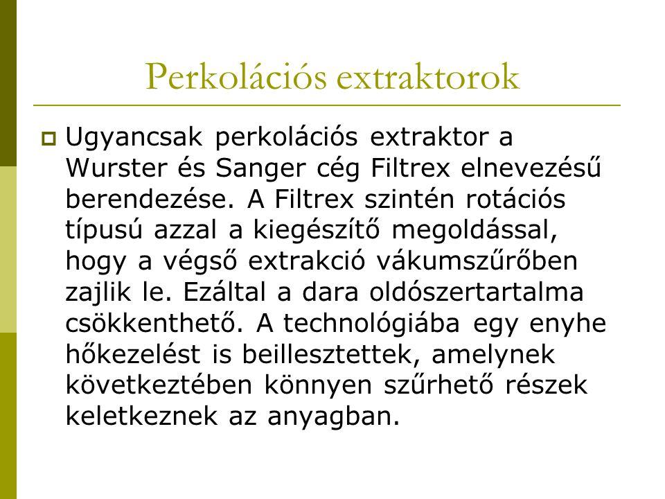 Perkolációs extraktorok  Ugyancsak perkolációs extraktor a Wurster és Sanger cég Filtrex elnevezésű berendezése. A Filtrex szintén rotációs típusú az