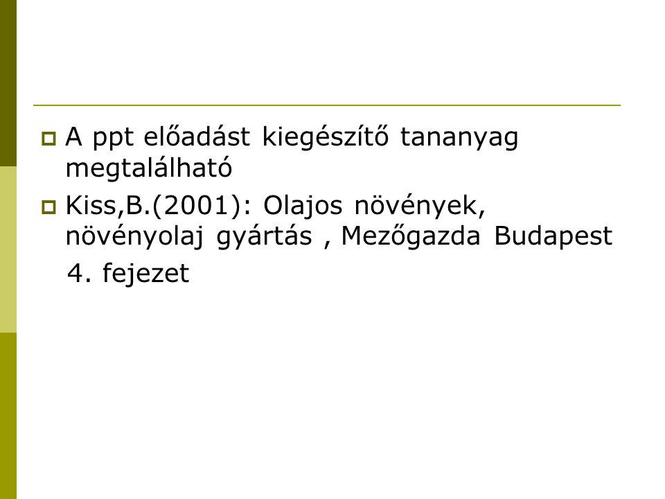  A ppt előadást kiegészítő tananyag megtalálható  Kiss,B.(2001): Olajos növények, növényolaj gyártás, Mezőgazda Budapest 4. fejezet