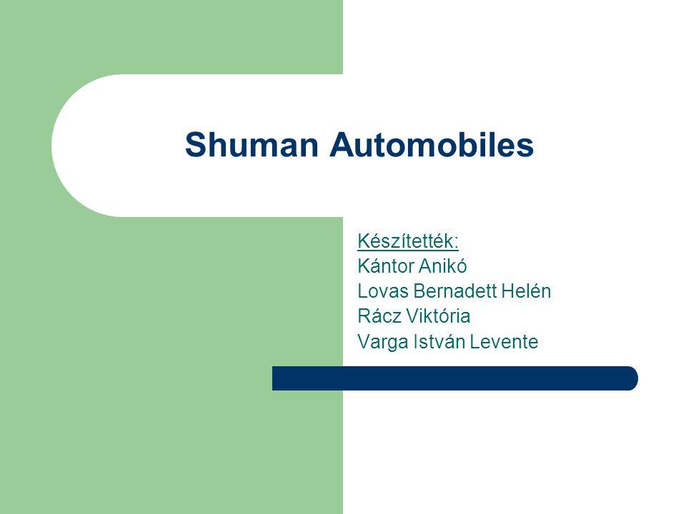 Shuman Automobiles Készítették: Kántor Anikó Lovas Bernadett Helén Rácz Viktória Varga István Levente