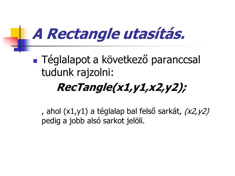 A Rectangle utasítás. Téglalapot a következő paranccsal tudunk rajzolni: RecTangle(x1,y1,x2,y2);, ahol (x1,y1) a téglalap bal felső sarkát, (x2,y2) pe