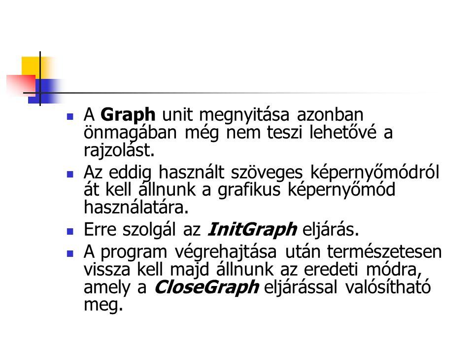 A Graph unit megnyitása azonban önmagában még nem teszi lehetővé a rajzolást. Az eddig használt szöveges képernyőmódról át kell állnunk a grafikus kép
