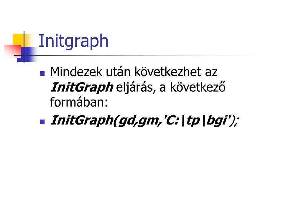 Initgraph Mindezek után következhet az InitGraph eljárás, a következő formában: InitGraph(gd,gm,'C:\tp\bgi');