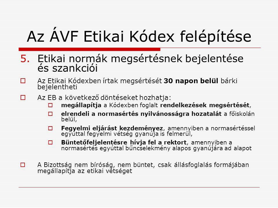 5.Etikai normák megsértésnek bejelentése és szankciói  Az Etikai Kódexben írtak megsértését 30 napon belül bárki bejelentheti  Az EB a következő dön