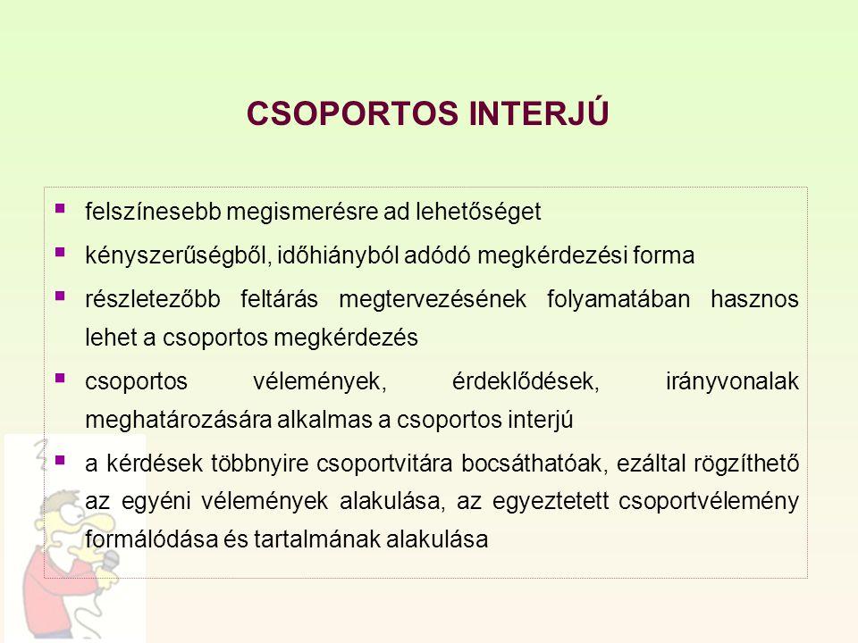 CSOPORTOS INTERJÚ  felszínesebb megismerésre ad lehetőséget  kényszerűségből, időhiányból adódó megkérdezési forma  részletezőbb feltárás megtervez