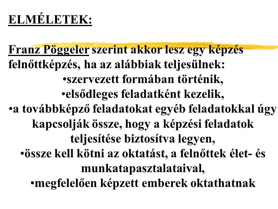 ELMÉLETEK: Franz Pöggeler szerint akkor lesz egy képzés felnőttképzés, ha az alábbiak teljesülnek: szervezett formában történik, elsődleges feladatkén