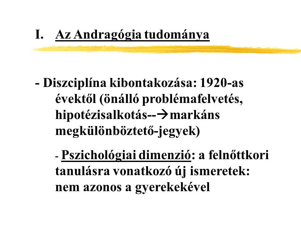 I.Az Andragógia tudománya - Diszciplína kibontakozása: 1920-as évektől (önálló problémafelvetés, hipotézisalkotás--  markáns megkülönböztető-jegyek)