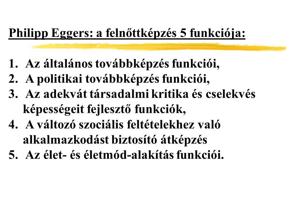 Philipp Eggers: a felnőttképzés 5 funkciója: 1. Az általános továbbképzés funkciói, 2. A politikai továbbképzés funkciói, 3. Az adekvát társadalmi kri