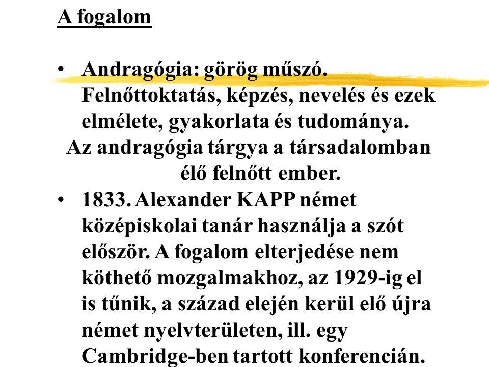 A fogalom Andragógia: görög műszó. Felnőttoktatás, képzés, nevelés és ezek elmélete, gyakorlata és tudománya. Az andragógia tárgya a társadalomban élő