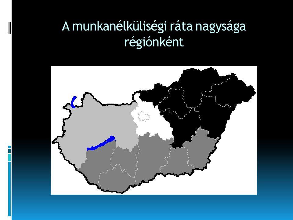 A munkanélküliségi ráta nagysága régiónként