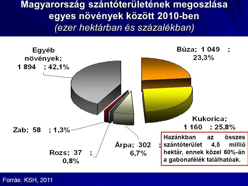 Magyarország szántóterületének megoszlása egyes növények között 2010-ben (ezer hektárban és százalékban) Forrás: KSH, 2011 Hazánkban az összes szántóterület 4,5 millió hektár, ennek közel 60%-án a gabonafélék találhatóak.
