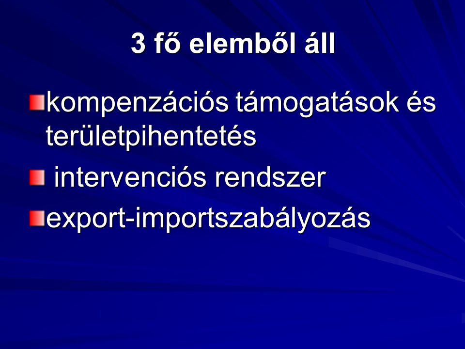 3 fő elemből áll kompenzációs támogatások és területpihentetés intervenciós rendszer intervenciós rendszerexport-importszabályozás