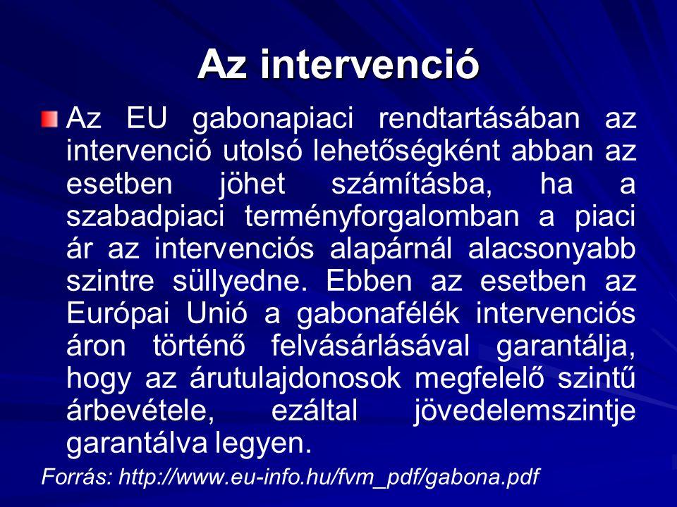 Az intervenció Az EU gabonapiaci rendtartásában az intervenció utolsó lehetőségként abban az esetben jöhet számításba, ha a szabadpiaci terményforgalomban a piaci ár az intervenciós alapárnál alacsonyabb szintre süllyedne.