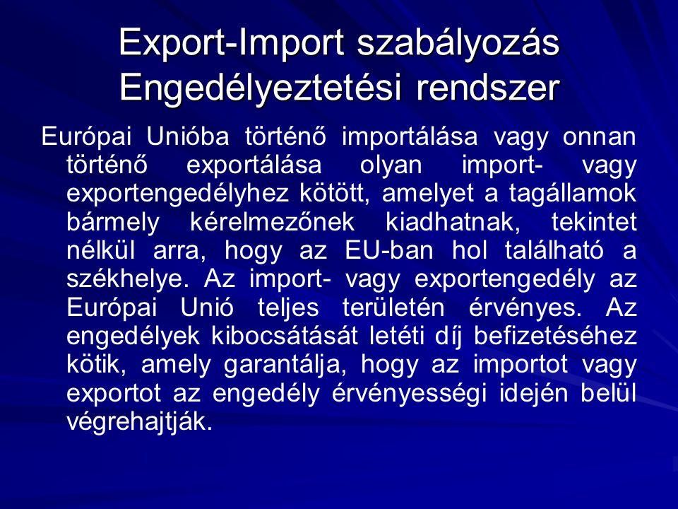 Európai Unióba történő importálása vagy onnan történő exportálása olyan import- vagy exportengedélyhez kötött, amelyet a tagállamok bármely kérelmezőnek kiadhatnak, tekintet nélkül arra, hogy az EU-ban hol található a székhelye.