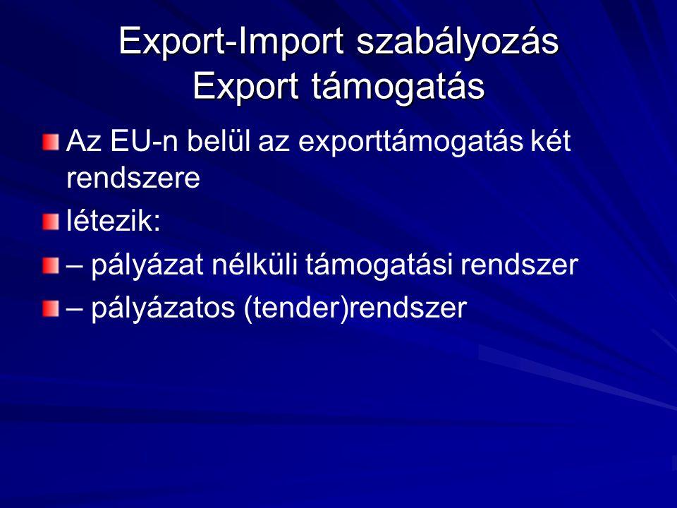 Az EU-n belül az exporttámogatás két rendszere létezik: – pályázat nélküli támogatási rendszer – pályázatos (tender)rendszer Export-Import szabályozás Export támogatás