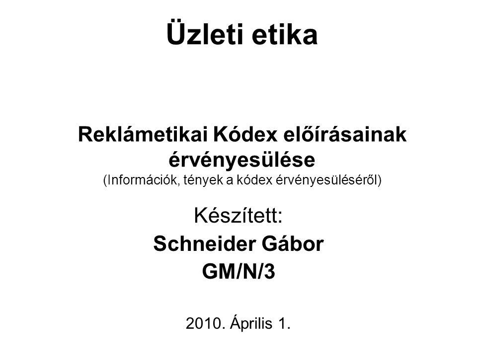 Üzleti etika Reklámetikai Kódex előírásainak érvényesülése (Információk, tények a kódex érvényesüléséről) Készített: Schneider Gábor GM/N/3 2010. Ápri
