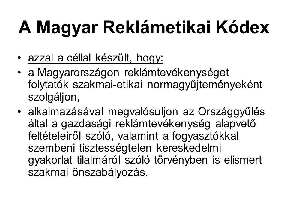 A Kódex hatálya A Kódex a Magyarországon reklámtevékenységet folytatók gyakorlati, szakmai-etikai normagyűjteménye.