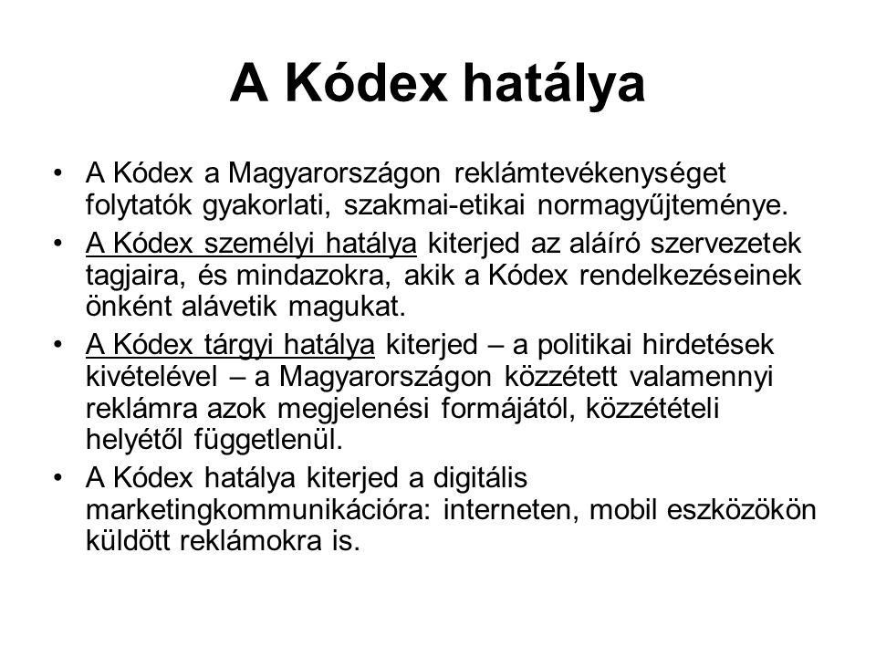 A Kódex hatálya A Kódex a Magyarországon reklámtevékenységet folytatók gyakorlati, szakmai-etikai normagyűjteménye. A Kódex személyi hatálya kiterjed