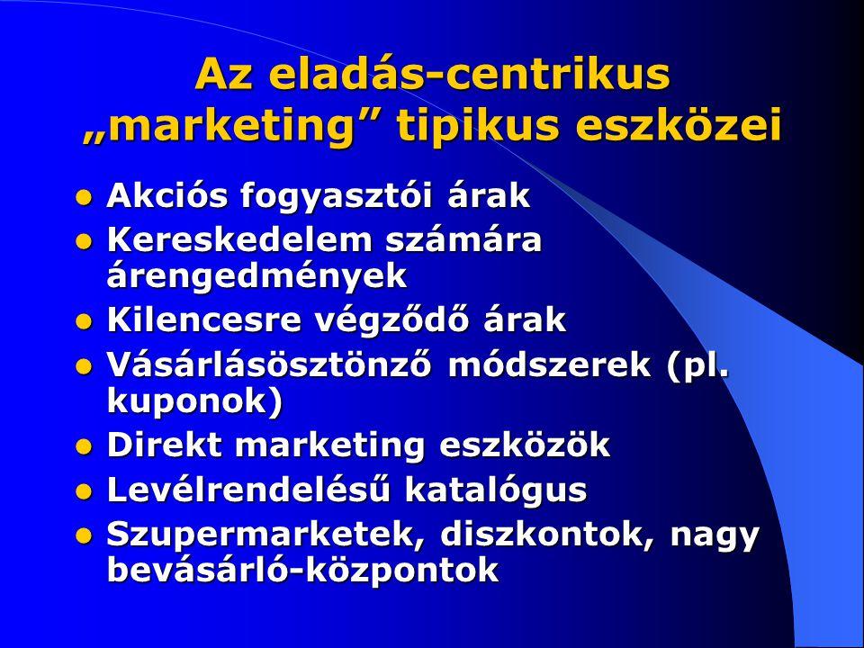 """Az eladás-centrikus """"marketing tipikus eszközei Akciós fogyasztói árak Akciós fogyasztói árak Kereskedelem számára árengedmények Kereskedelem számára árengedmények Kilencesre végződő árak Kilencesre végződő árak Vásárlásösztönző módszerek (pl."""