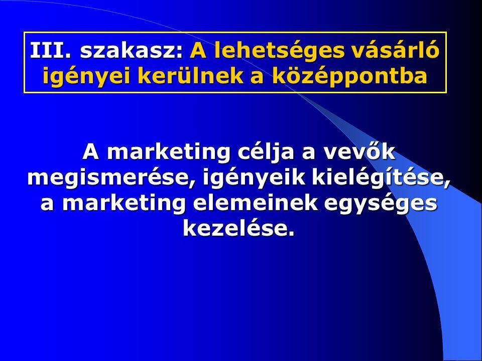 A marketing célja a vevők megismerése, igényeik kielégítése, a marketing elemeinek egységes kezelése.