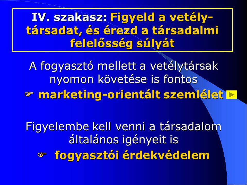 A fogyasztó mellett a vetélytársak nyomon követése is fontos  marketing-orientált szemlélet Figyelembe kell venni a társadalom általános igényeit is  fogyasztói érdekvédelem IV.