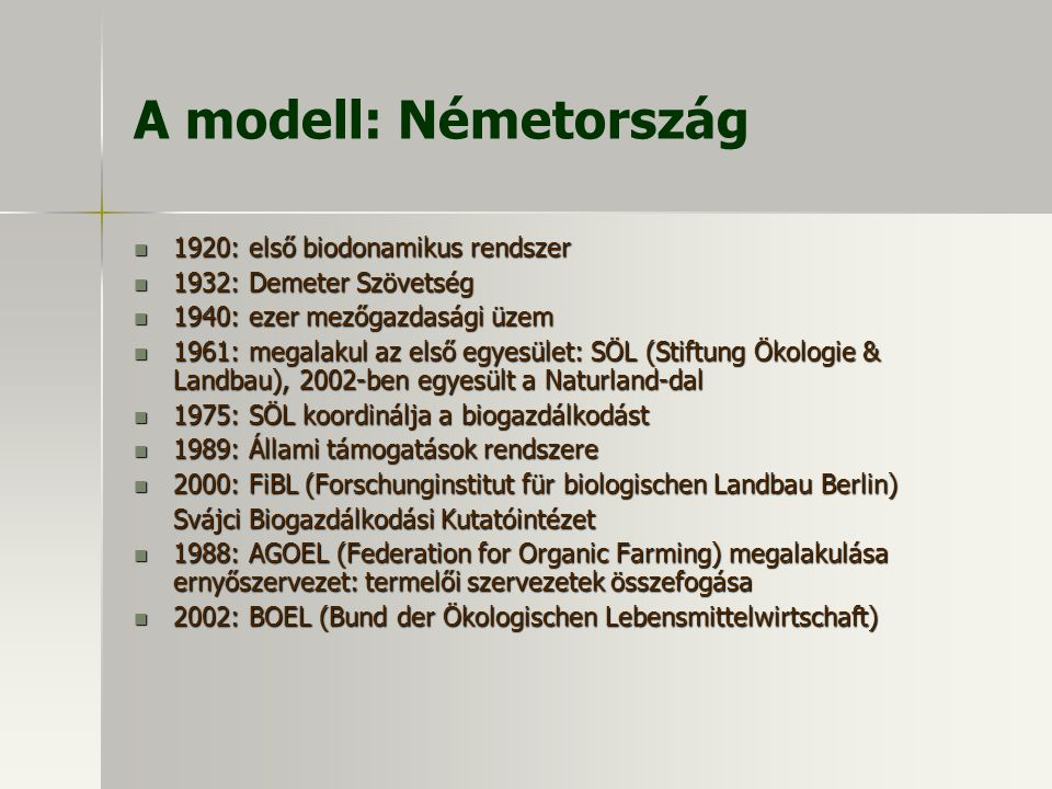 A modell: Németország 1920: első biodonamikus rendszer 1920: első biodonamikus rendszer 1932: Demeter Szövetség 1932: Demeter Szövetség 1940: ezer mez