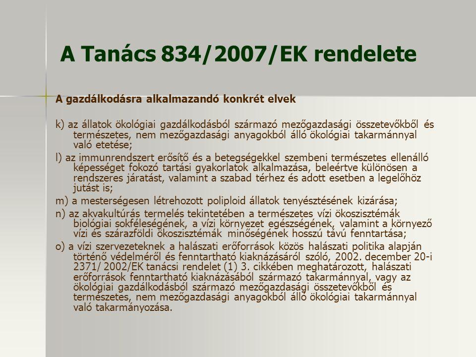 A Tanács 834/2007/EK rendelete A gazdálkodásra alkalmazandó konkrét elvek k) az állatok ökológiai gazdálkodásból származó mezőgazdasági összetevőkből