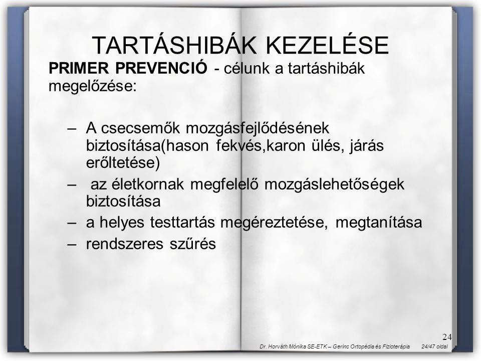 24/47 oldalDr. Horváth Mónika SE-ETK – Gerinc Ortopédia és Fizioterápia 24 TARTÁSHIBÁK KEZELÉSE PRIMER PREVENCIÓ - célunk a tartáshibák megelőzése: –A