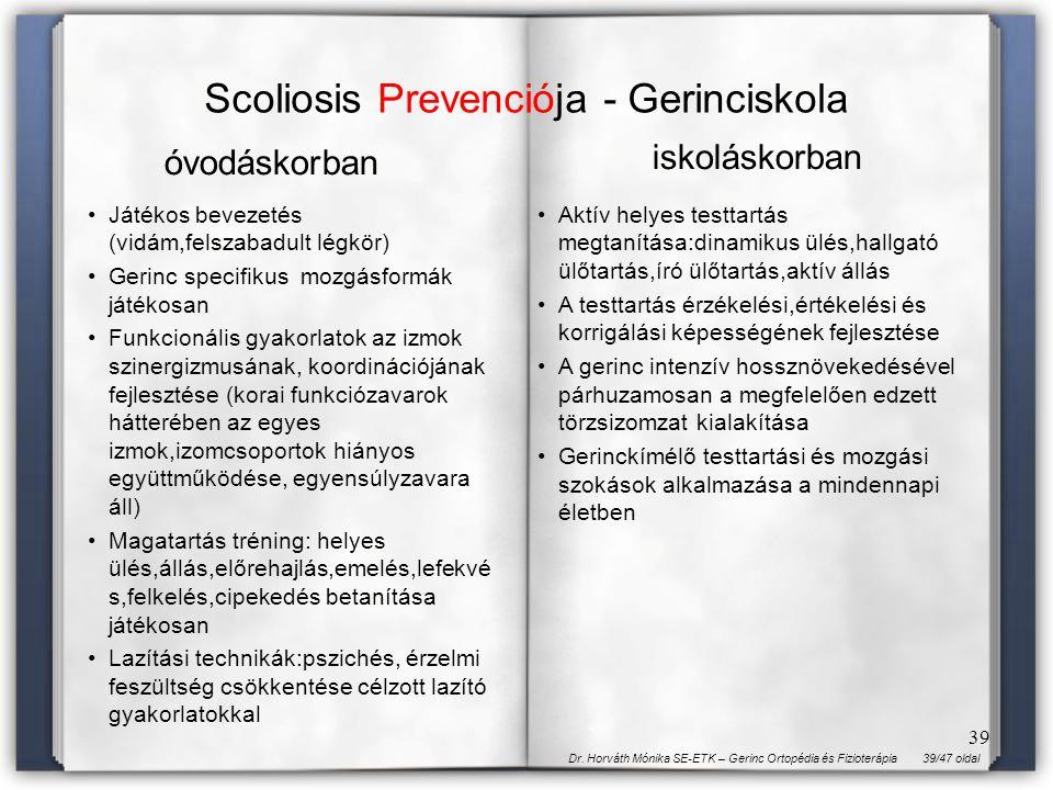39/47 oldalDr. Horváth Mónika SE-ETK – Gerinc Ortopédia és Fizioterápia 39 Scoliosis Prevenciója - Gerinciskola óvodáskorban iskoláskorban Játékos bev