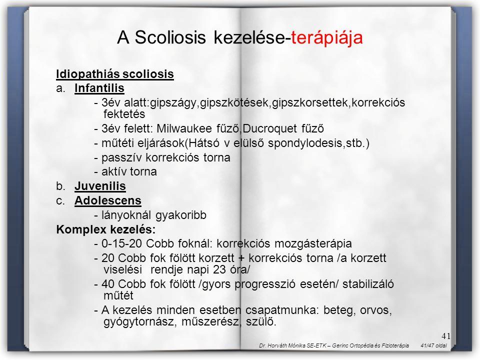 41/47 oldalDr. Horváth Mónika SE-ETK – Gerinc Ortopédia és Fizioterápia 41 A Scoliosis kezelése-terápiája Idiopathiás scoliosis a.Infantilis - 3év ala