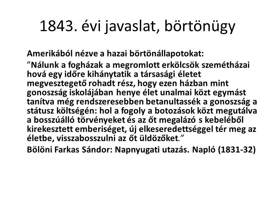 """1843. évi javaslat, börtönügy Amerikából nézve a hazai börtönállapotokat: """"Nálunk a fogházak a megromlott erkölcsök szemétházai hová egy időre kihányt"""