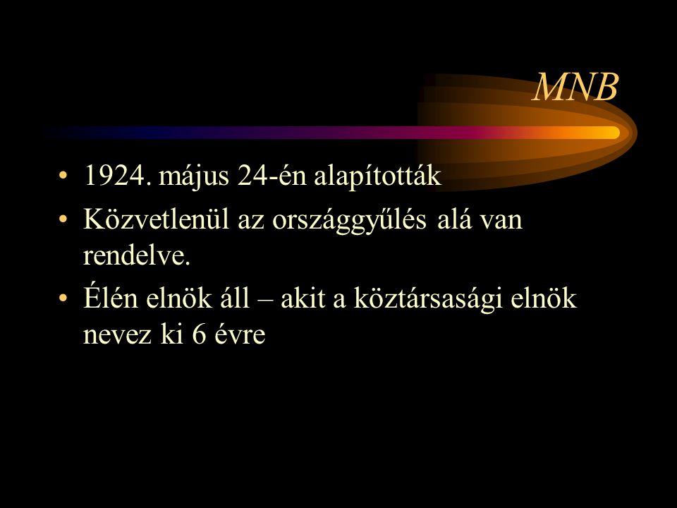 MNB 1924. május 24-én alapították Közvetlenül az országgyűlés alá van rendelve. Élén elnök áll – akit a köztársasági elnök nevez ki 6 évre