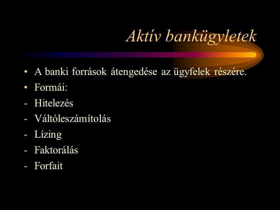 Aktív bankügyletek A banki források átengedése az ügyfelek részére. Formái: -Hitelezés -Váltóleszámítolás -Lízing -Faktorálás -Forfait