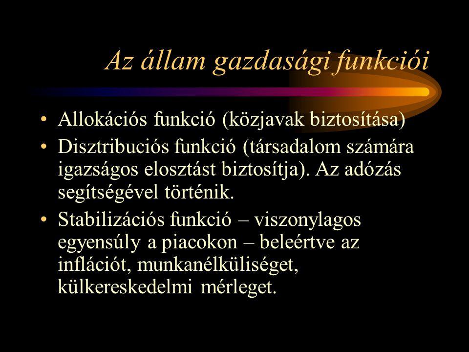 Az állam gazdasági funkciói Allokációs funkció (közjavak biztosítása) Disztribuciós funkció (társadalom számára igazságos elosztást biztosítja). Az ad